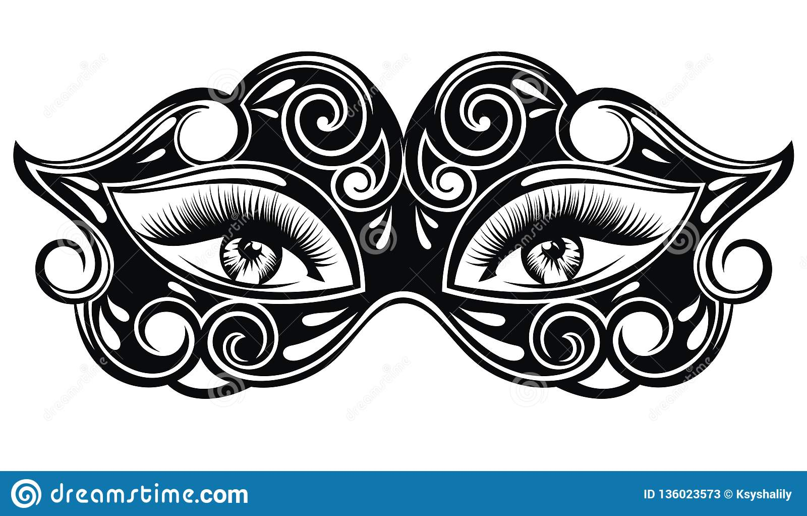 Maschera elegante di carnevale con i bei occhi sexy della donna