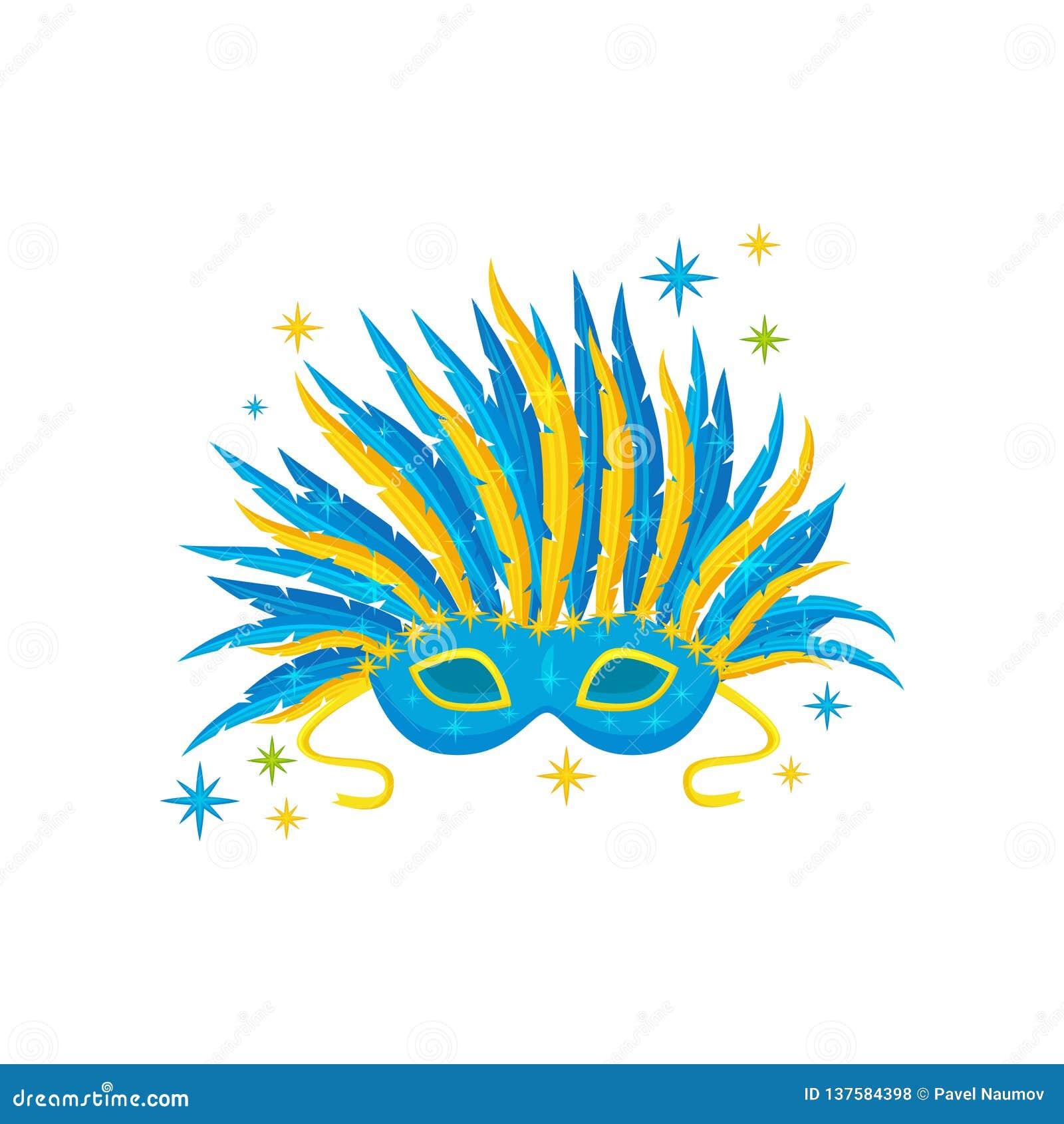 Maschera festiva con le piume blu e gialle Attributo del carnevale brasiliano Vettore piano per l insegna o il manifesto di festa