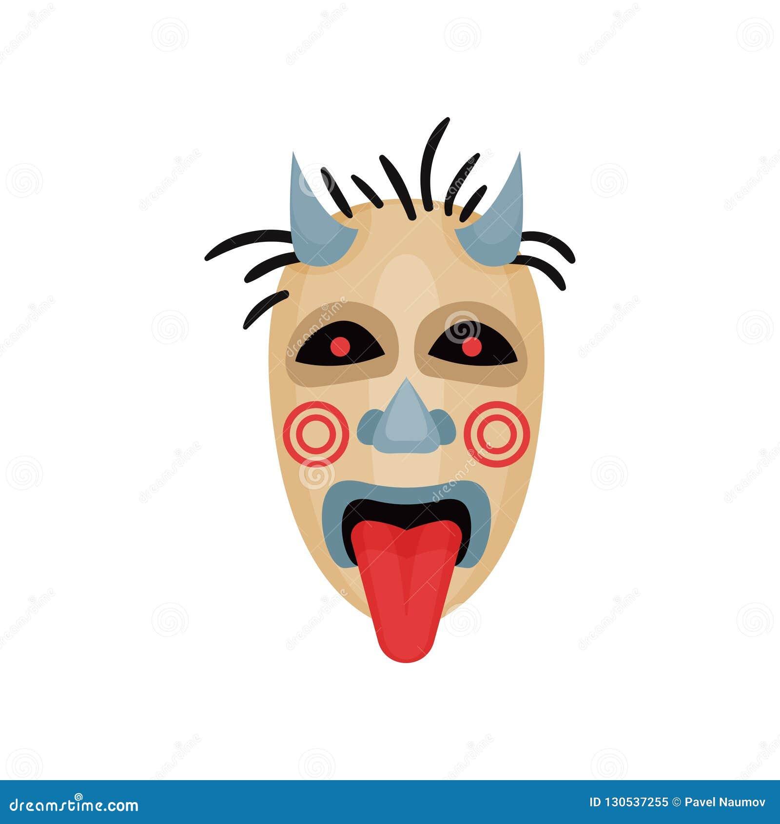 Maschera spaventosa con i corni, gli occhi neri e la lingua fuori Attributo rituale Tema di divinazione Elemento piano di vettore