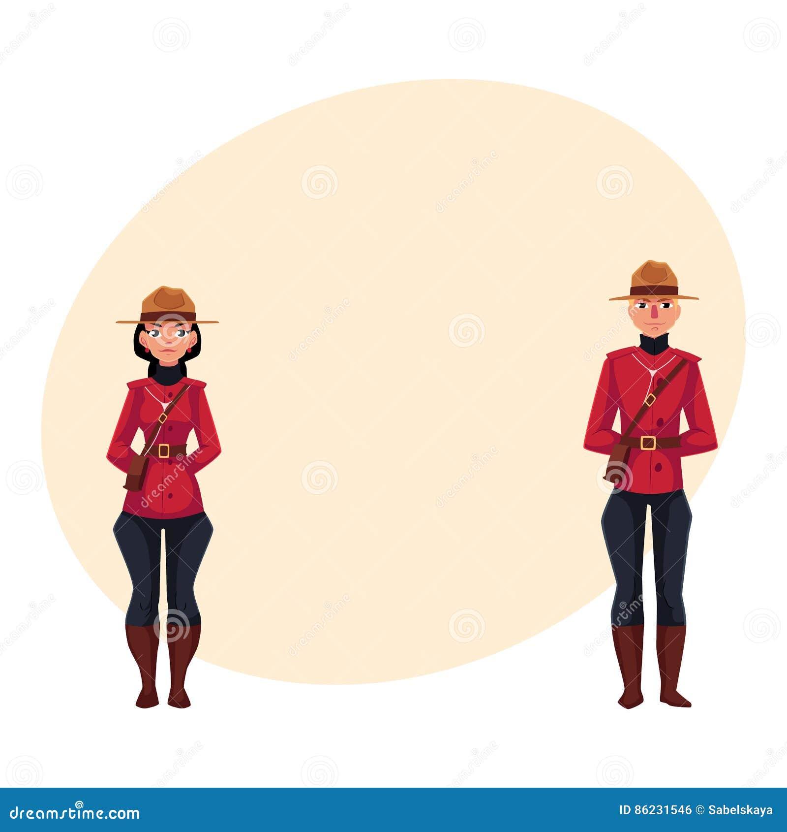Maschio Canadese E Poliziotto Femminile In Uniforme Tradizionale ... 65424ac7893c