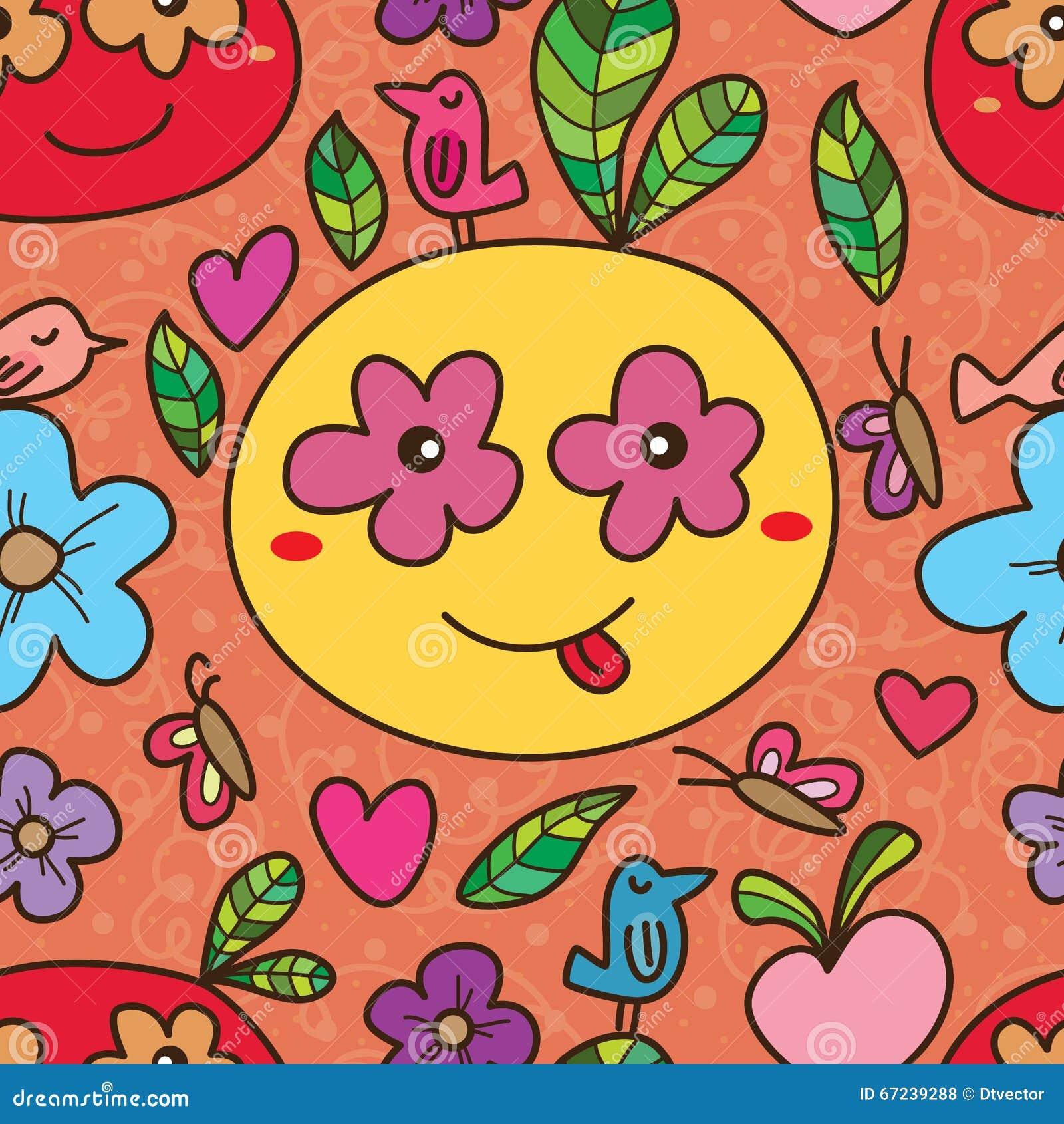 Mascot Eye On Flower Seamless Pattern Stock Vector Illustration