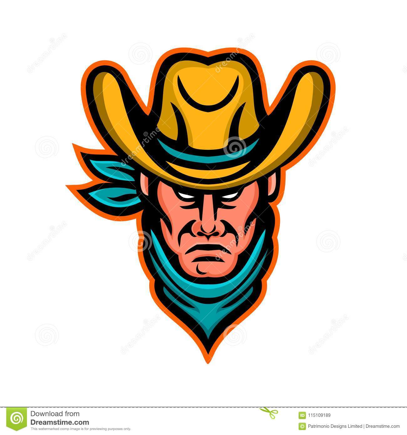 f2c749331c5 Mascot icon illustration of head of an American cowboy wearing kerchief and  hat viewed from front on isolated background in retro style.
