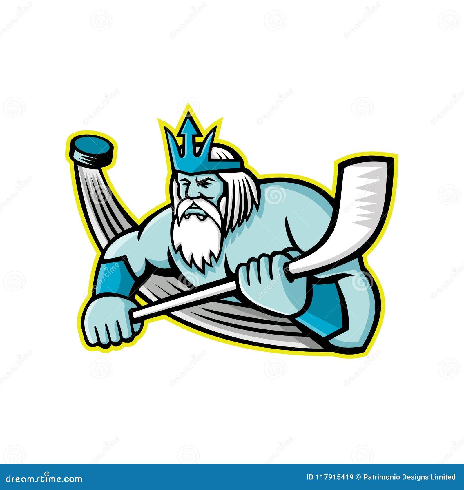 Poseidon Ice Hockey Sports Mascot Stock Vector Illustration Of