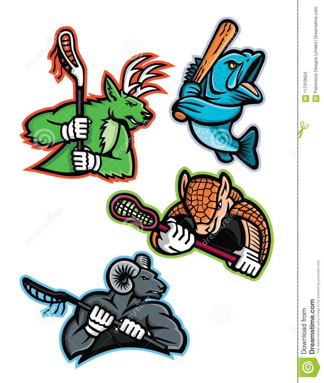 Lacrosse And Baseball Sports Mascot Collection Stock ...