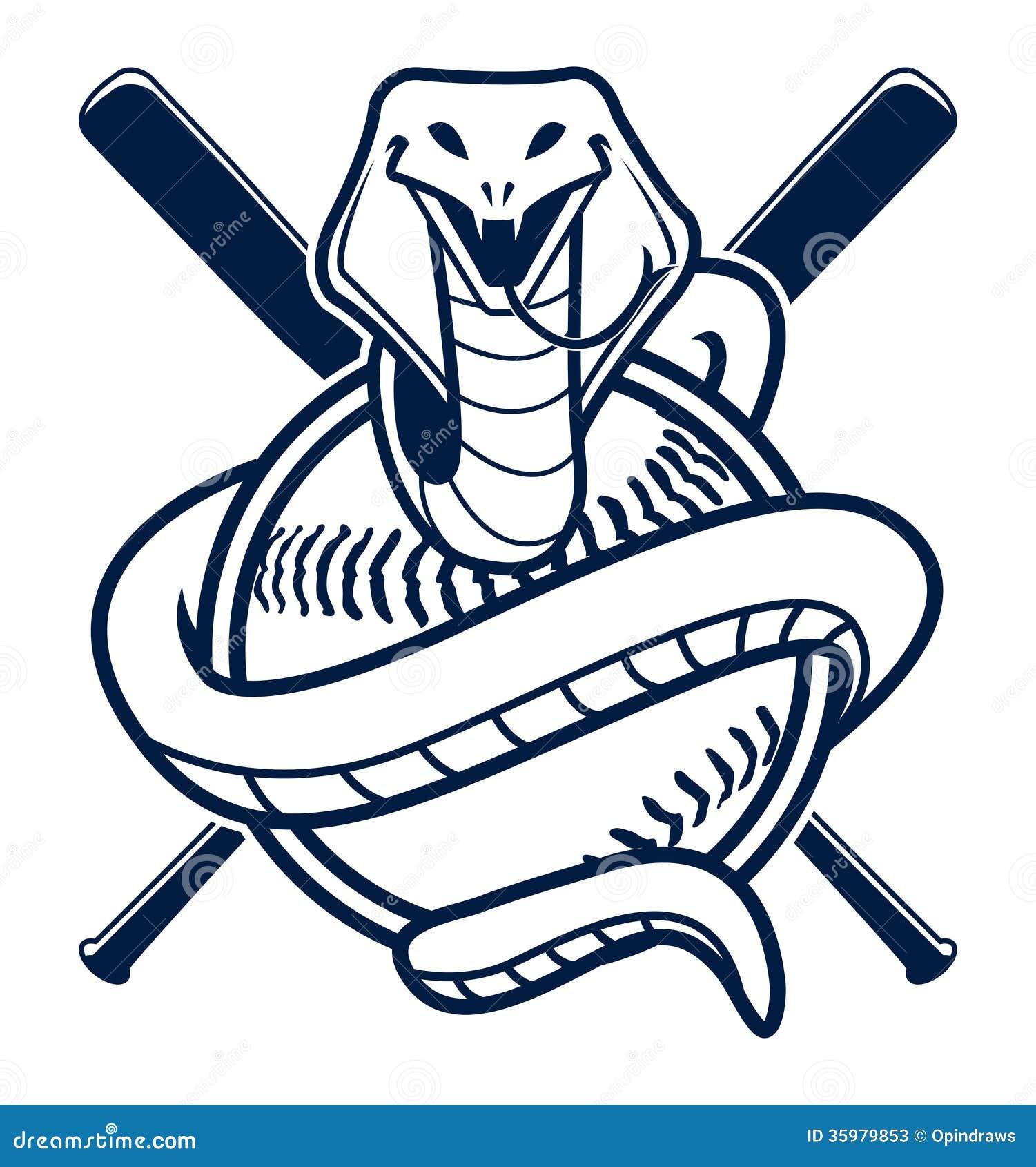 Mascota Del Deporte Del Béisbol De La Cobra Stock de ilustración ...