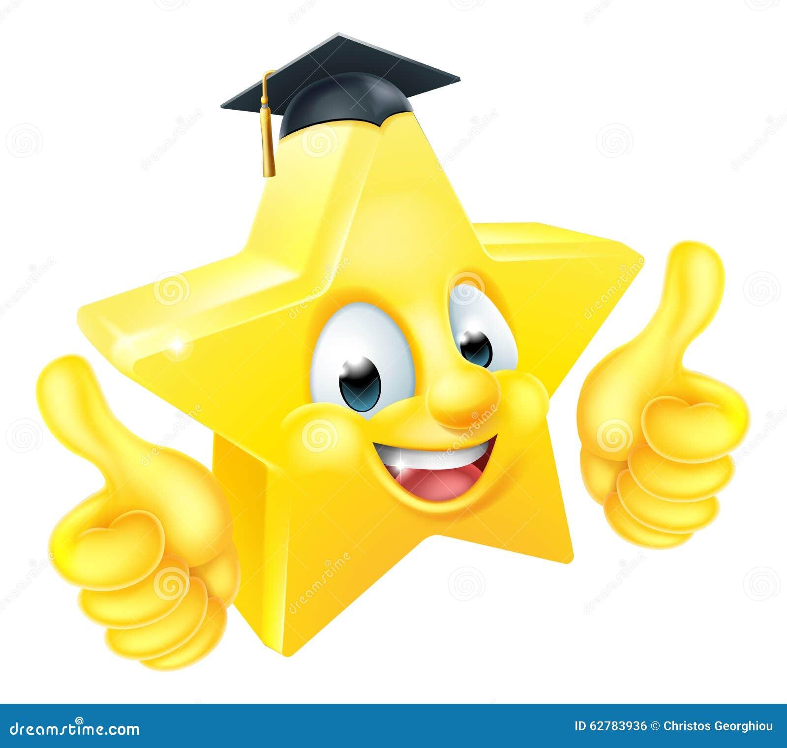 Mascota del Emoticon de Emoji de la graduación de la estrella