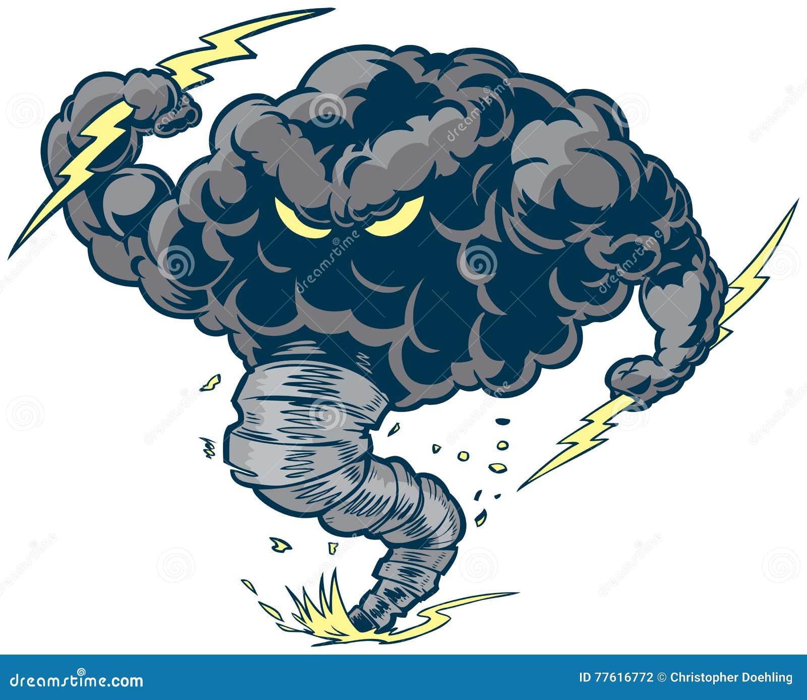 Mascote do furacão da tempestade da nuvem de trovão do vetor com parafusos de relâmpago