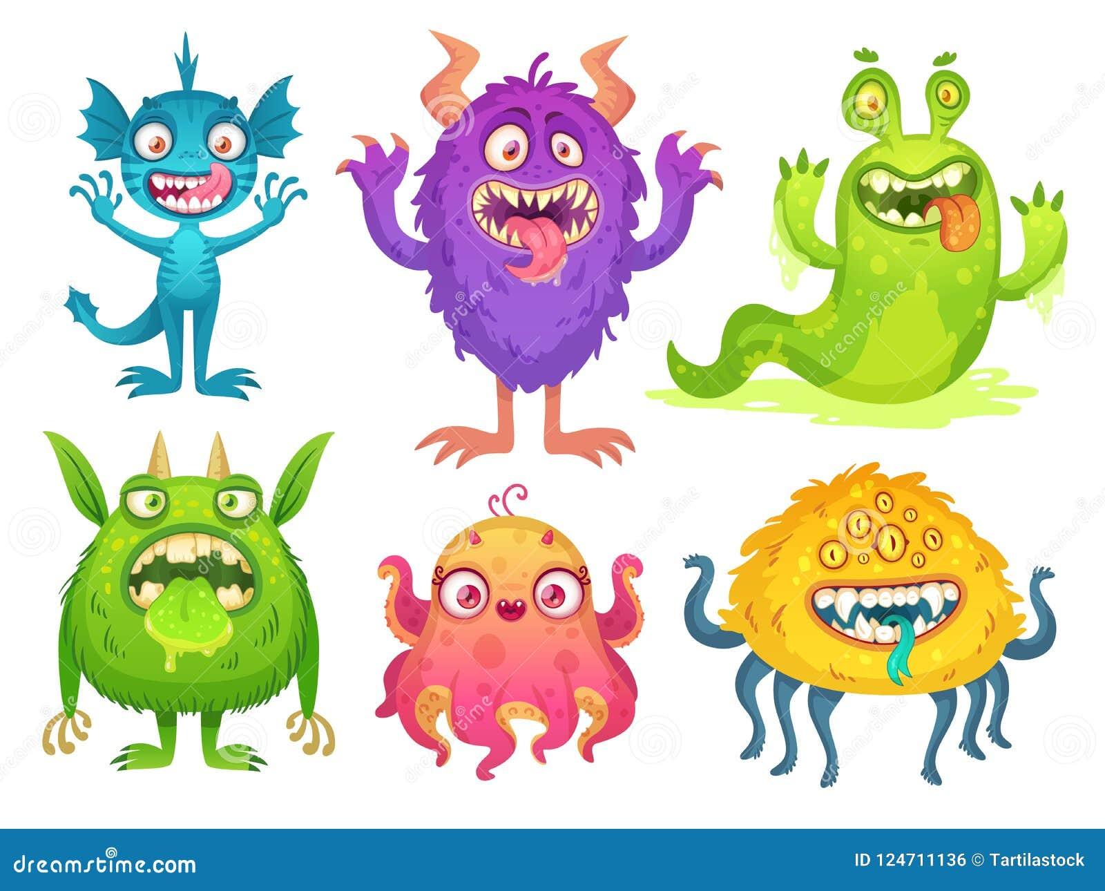 Mascote do monstro dos desenhos animados Monstro engraçados de Dia das Bruxas, diabrete estranho com chifre e criações peludos Ca
