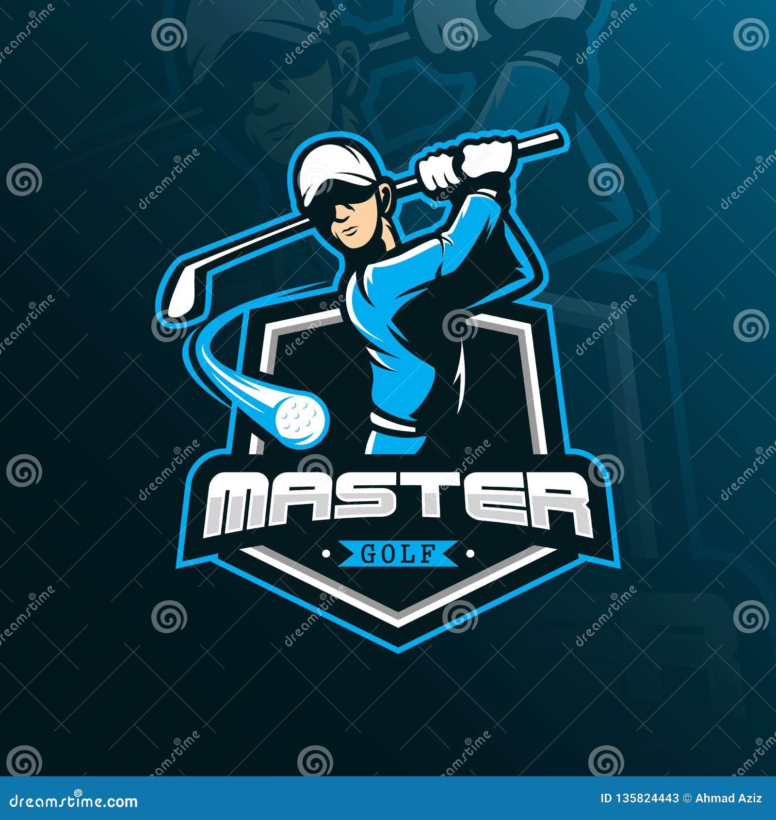 Mascote do projeto do logotipo do vetor do golfe com estilo moderno do conceito da ilustração para a impressão do crachá, do embl
