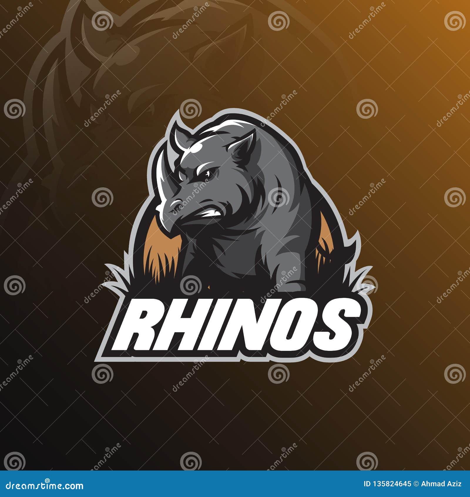 Mascote do projeto do logotipo do vetor do rinoceronte com estilo moderno do conceito da ilustração para a impressão do crachá, d