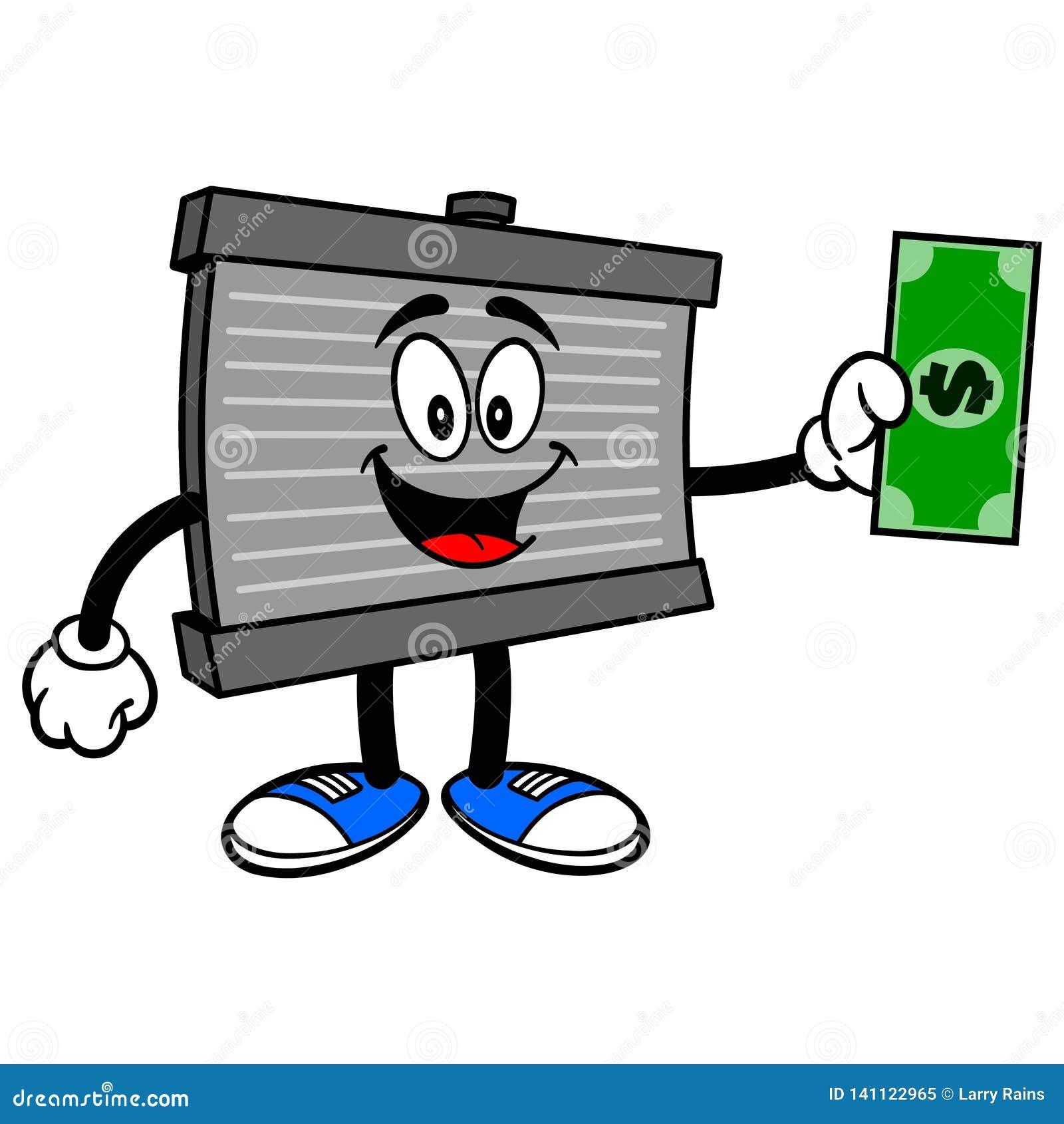 Mascote do radiador com um dólar