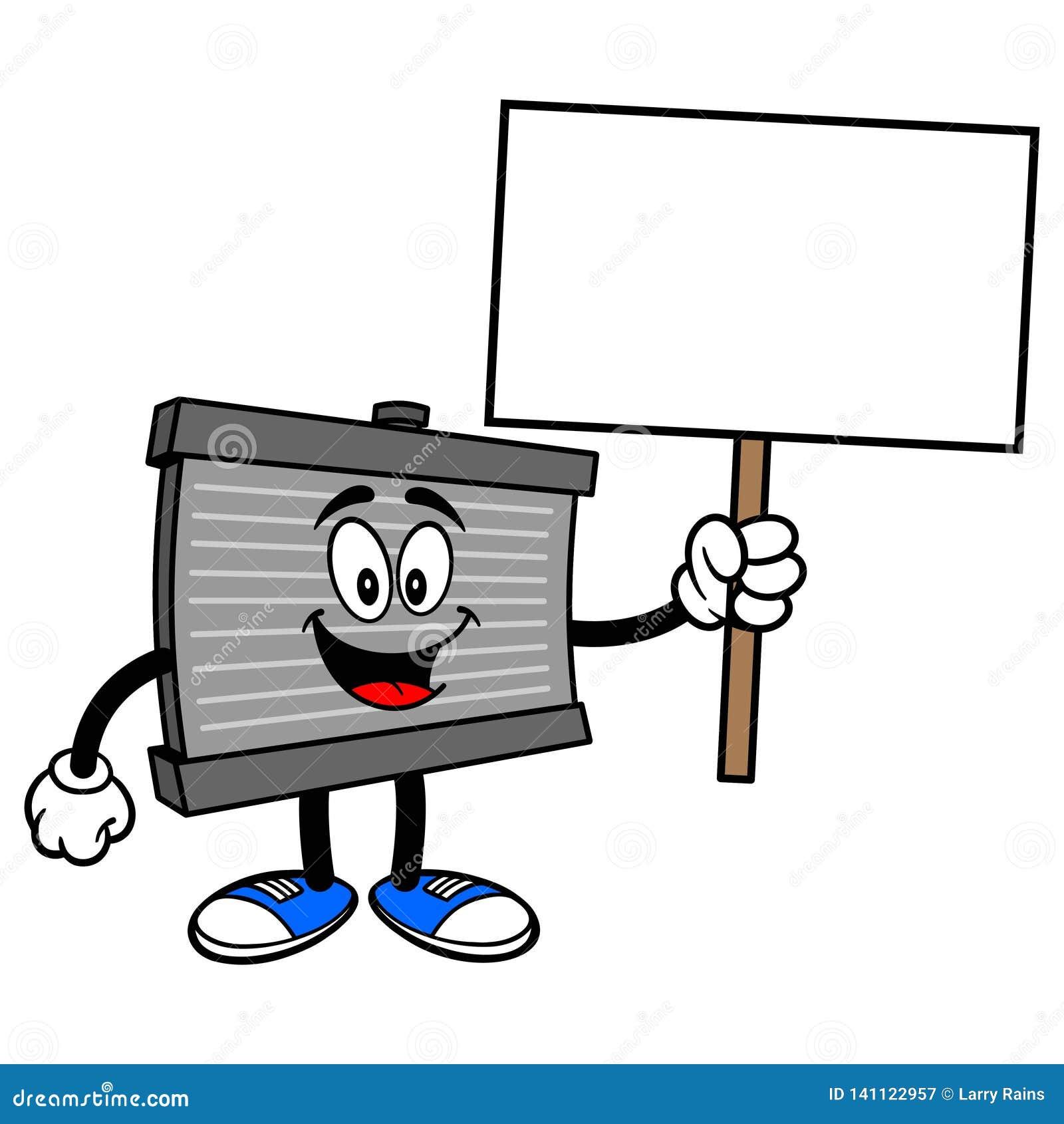 Mascote do radiador com um sinal