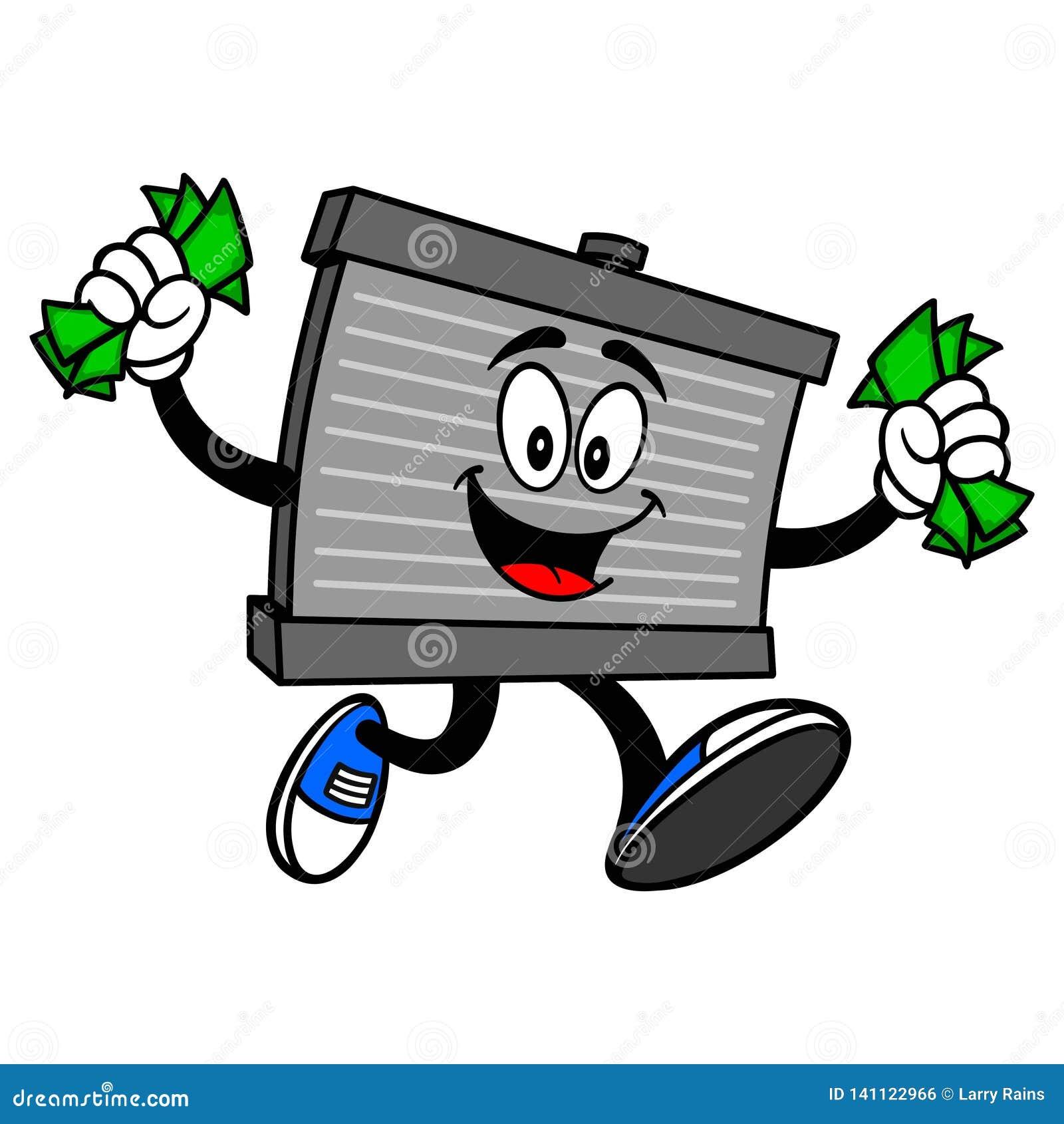 Mascote do radiador que corre com dinheiro