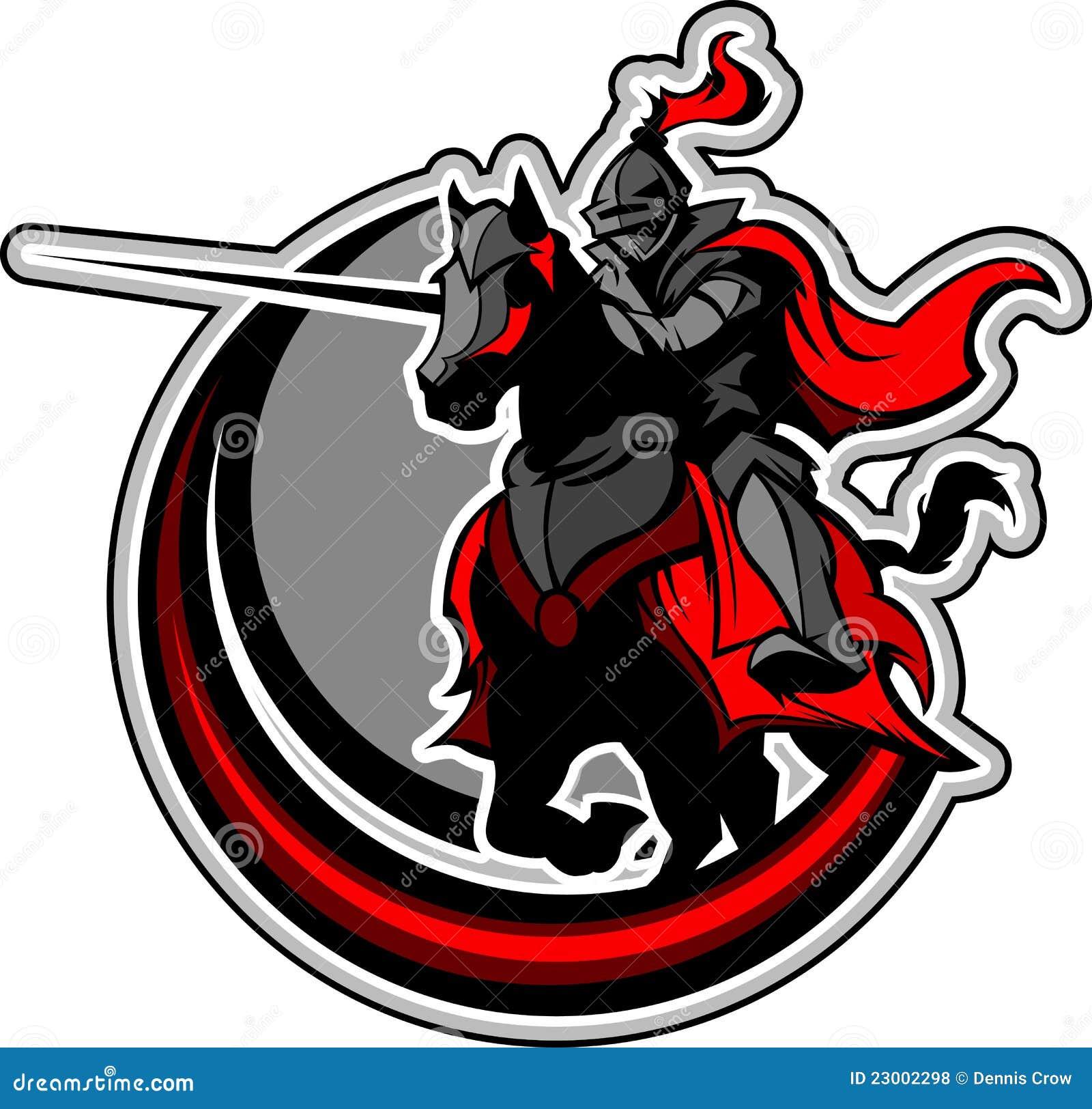 Mascote Jousting do cavaleiro no cavalo