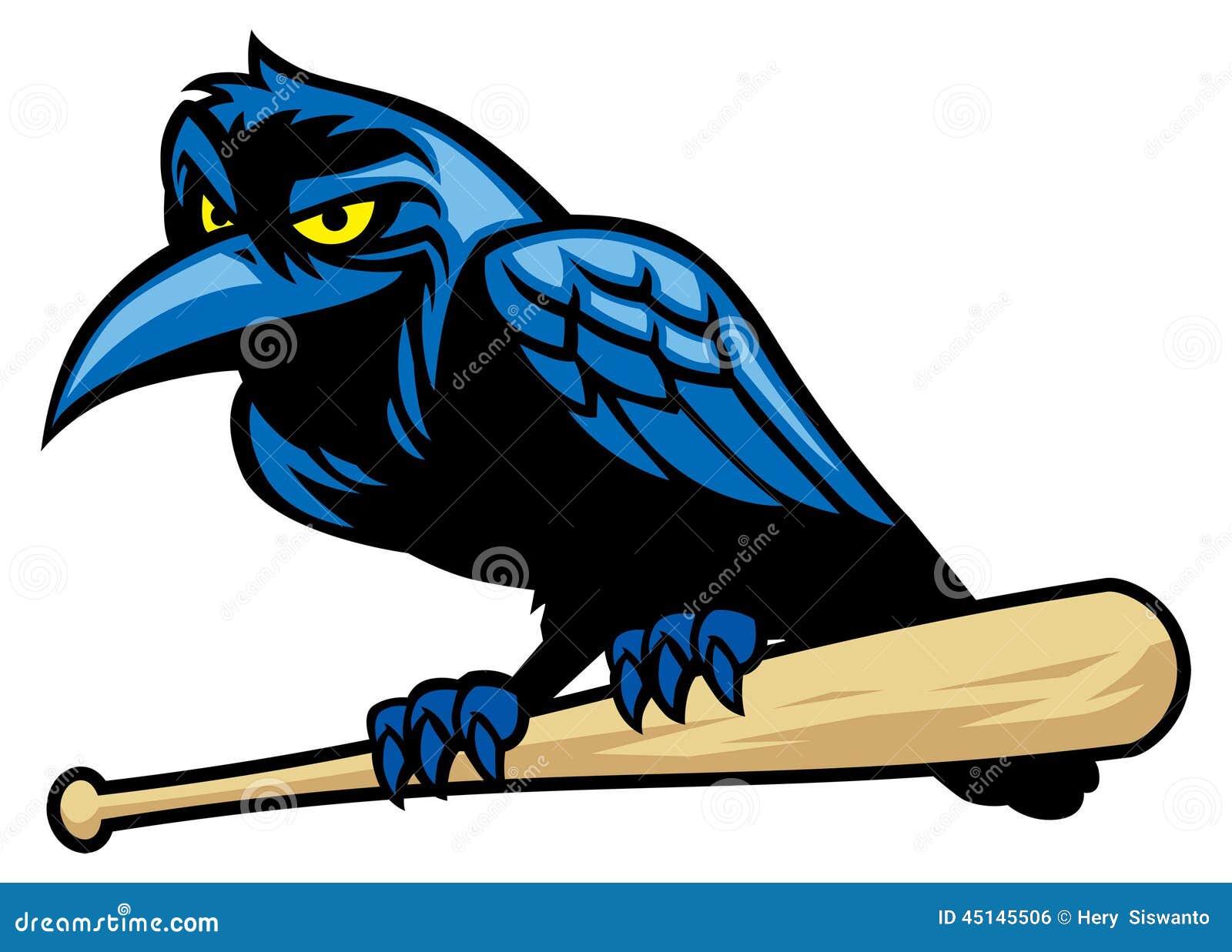 mascotte de raven et la batte de baseball illustration de