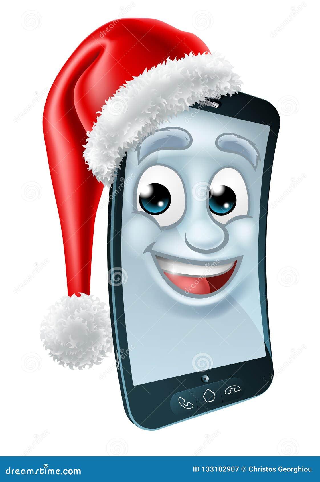 Mascotte di Natale del telefono cellulare delle cellule in Santa Hat