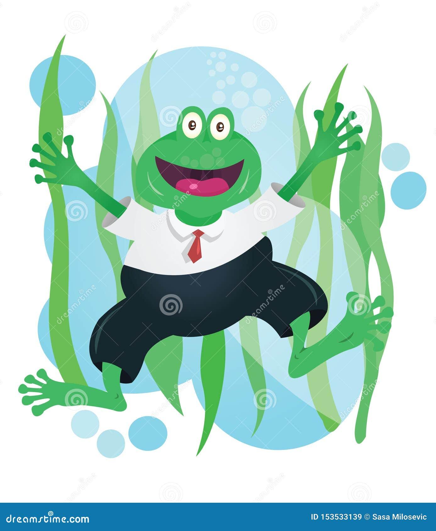 Mascotte heureuse de grenouille d affaires dans le costume