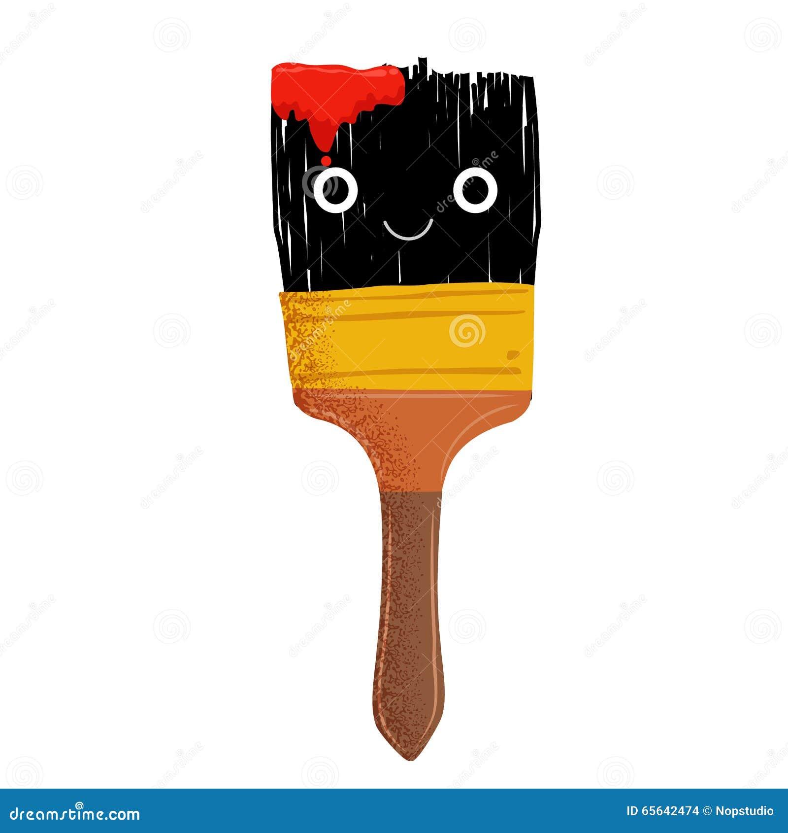 Mascotte mignonne de brosse avec l encre rouge