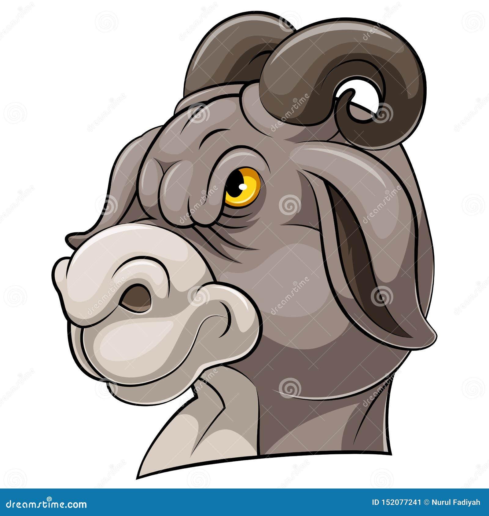 Mascottehoofd van een geit