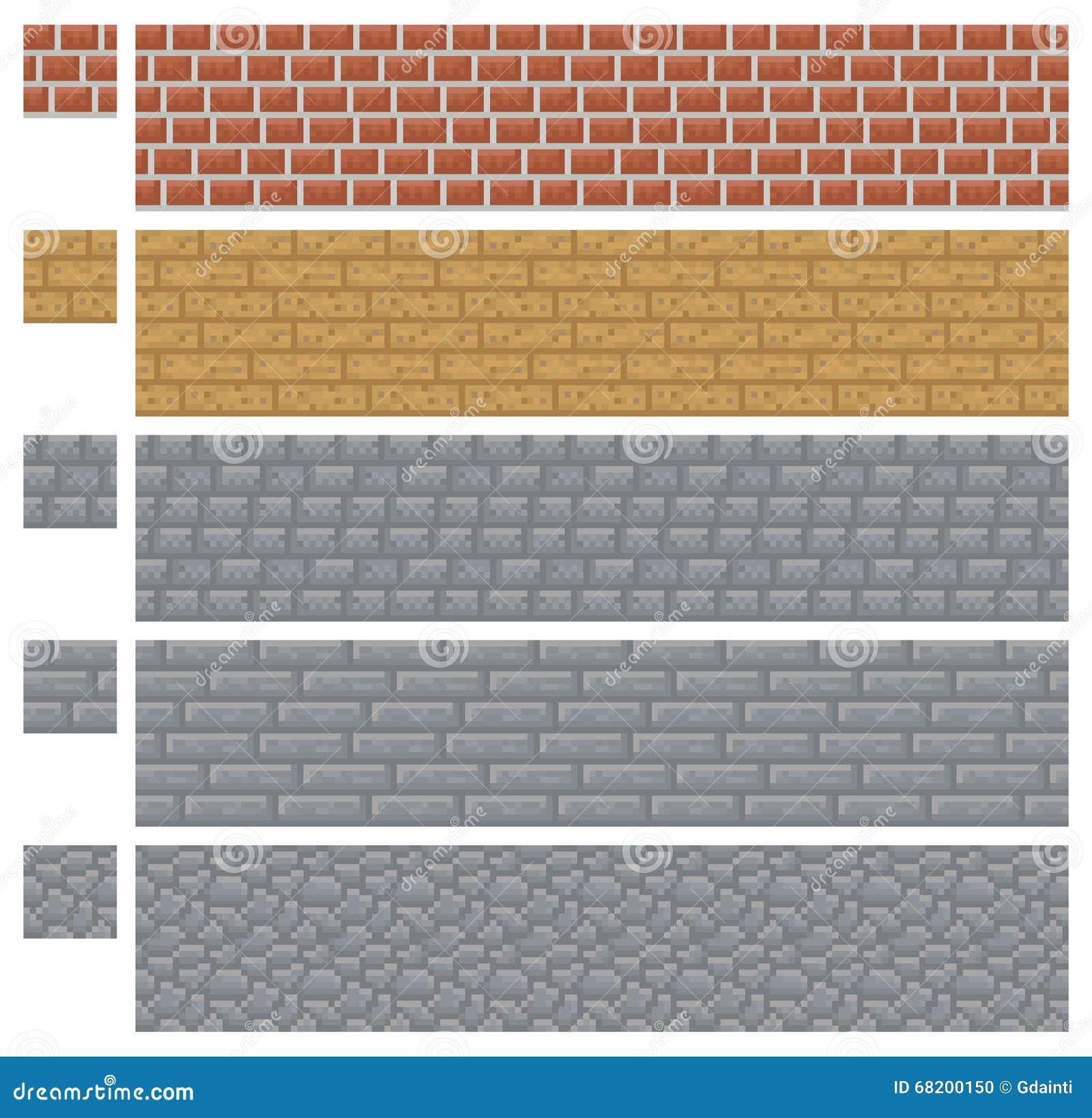 Masern Sie für platformers Pixel-Kunstvektor - Ziegelstein-, Stein- und Holzwand