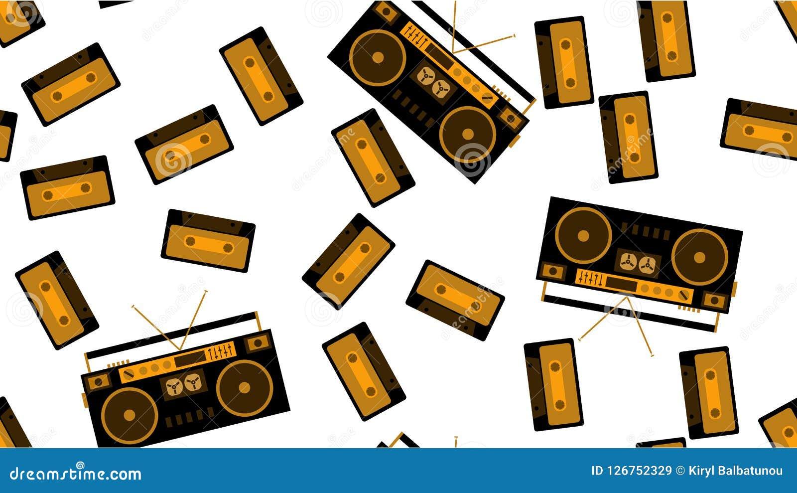 Masern Sie nahtloses Muster vom alten WeinleseTonbandgerät für das Hören auf Audiokassetten vom 70 ` s, 80 ` s, 90 ` s Der Hinter