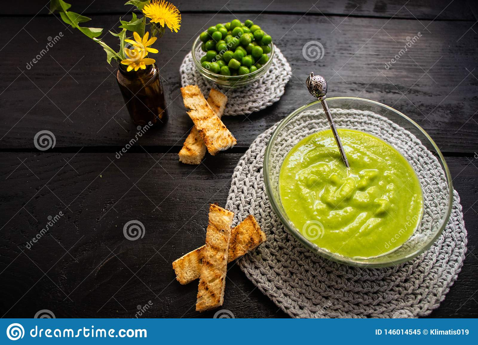 Mashed green peas, rubbed through a fine sieve.