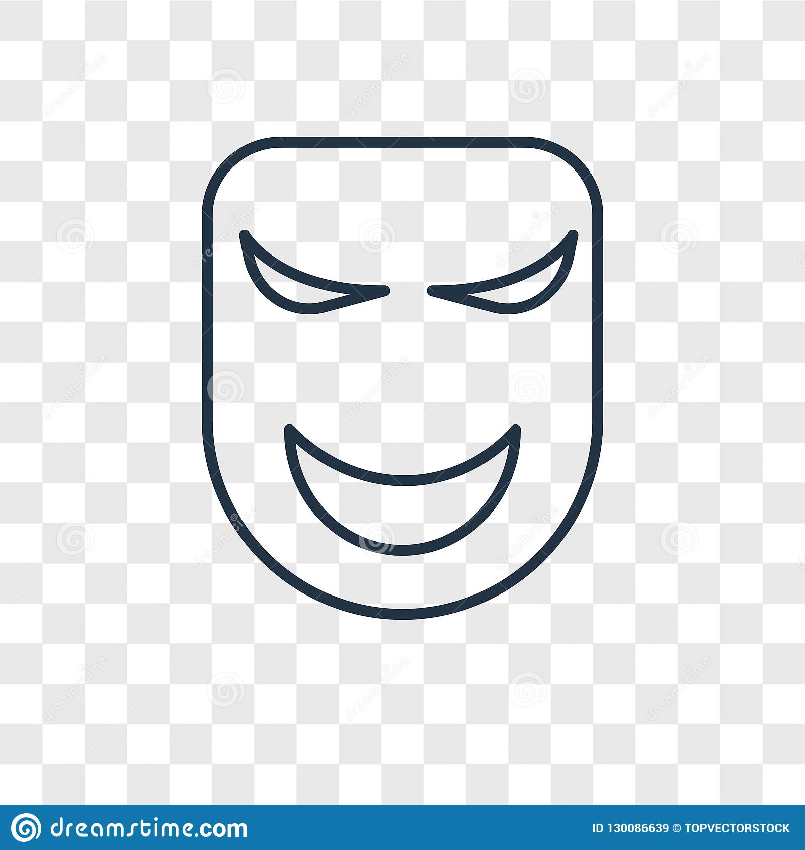 Mask concept vector linear icon isolated on transparent background, Mask concept transparency logo in outline style