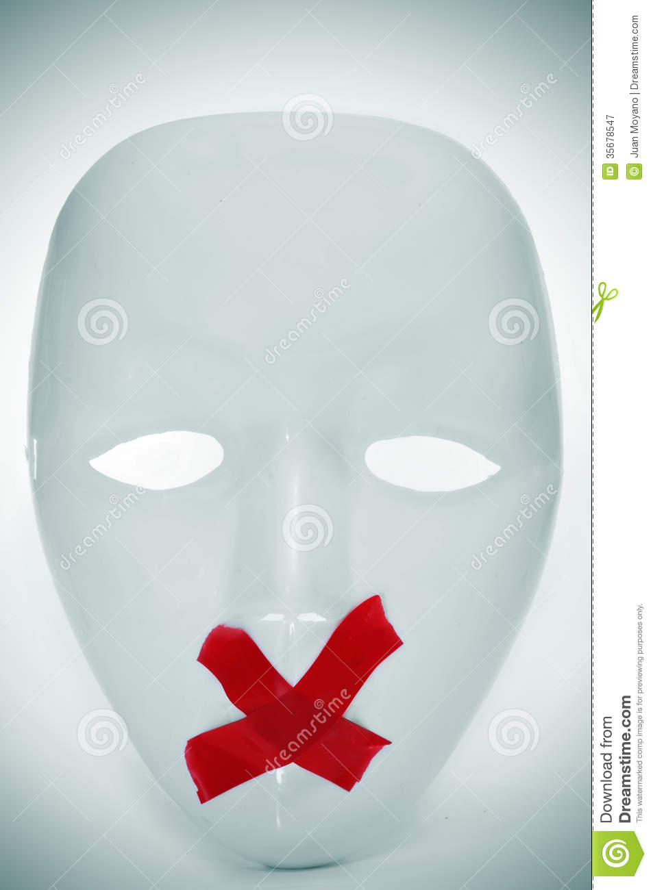 Mask With Its Mouth Shut With Red Tape Editorial