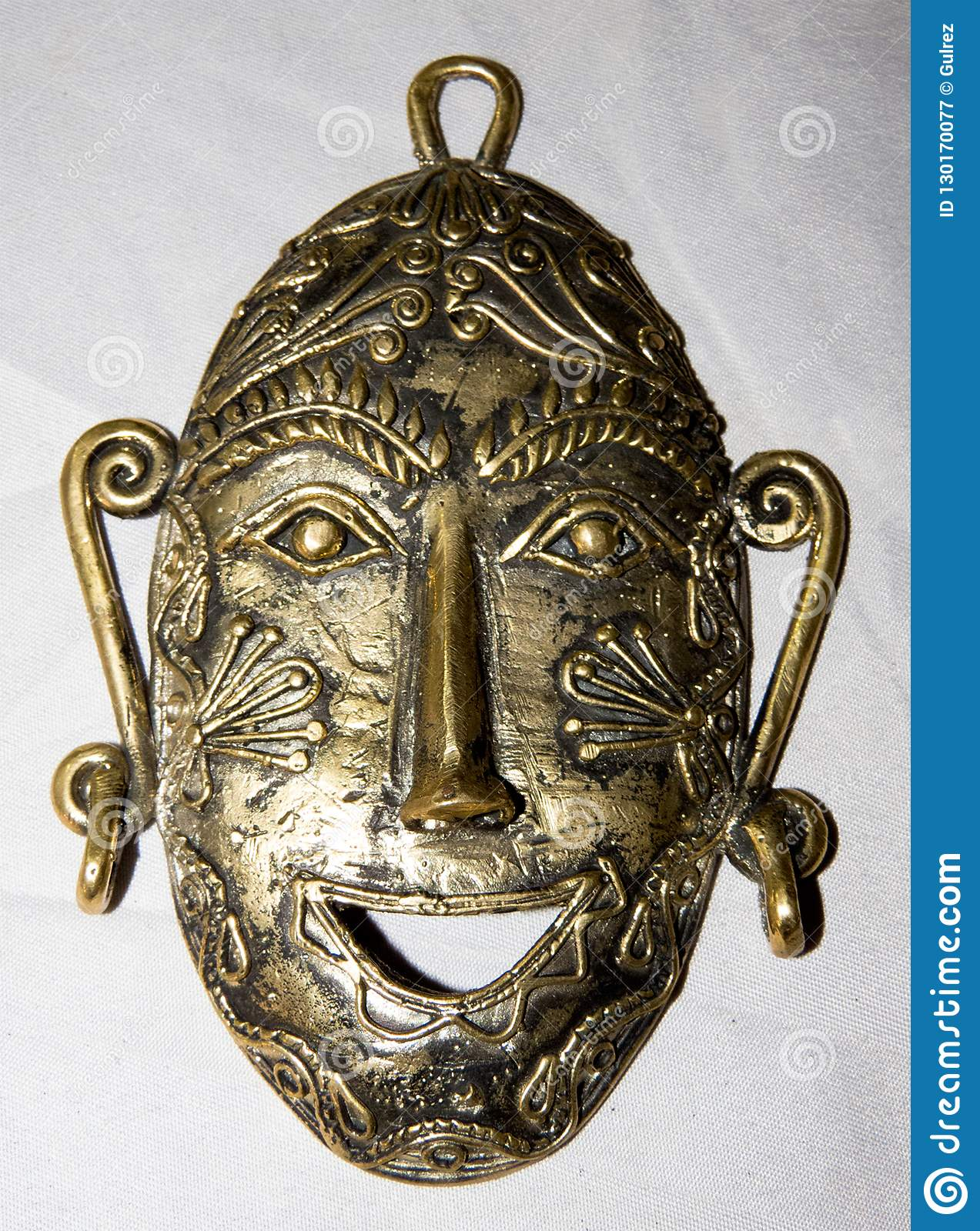 Mask made of brass metal handcrafted
