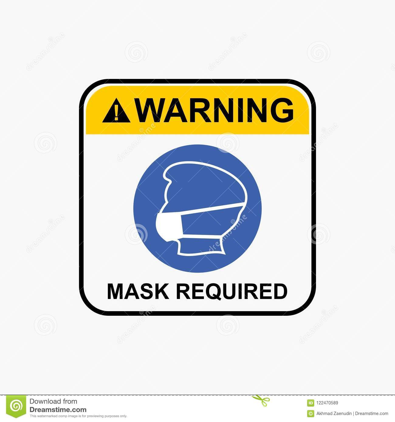 Mask Required Icon, Wear Dust Mask Icon, Warning Icon Design Vector