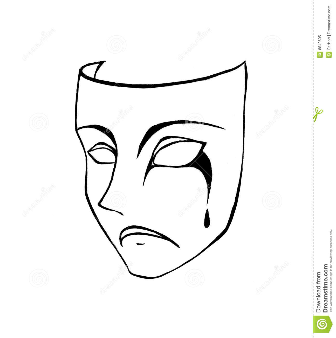 black and white pencil sketch of a sorrowful face mask with tears.