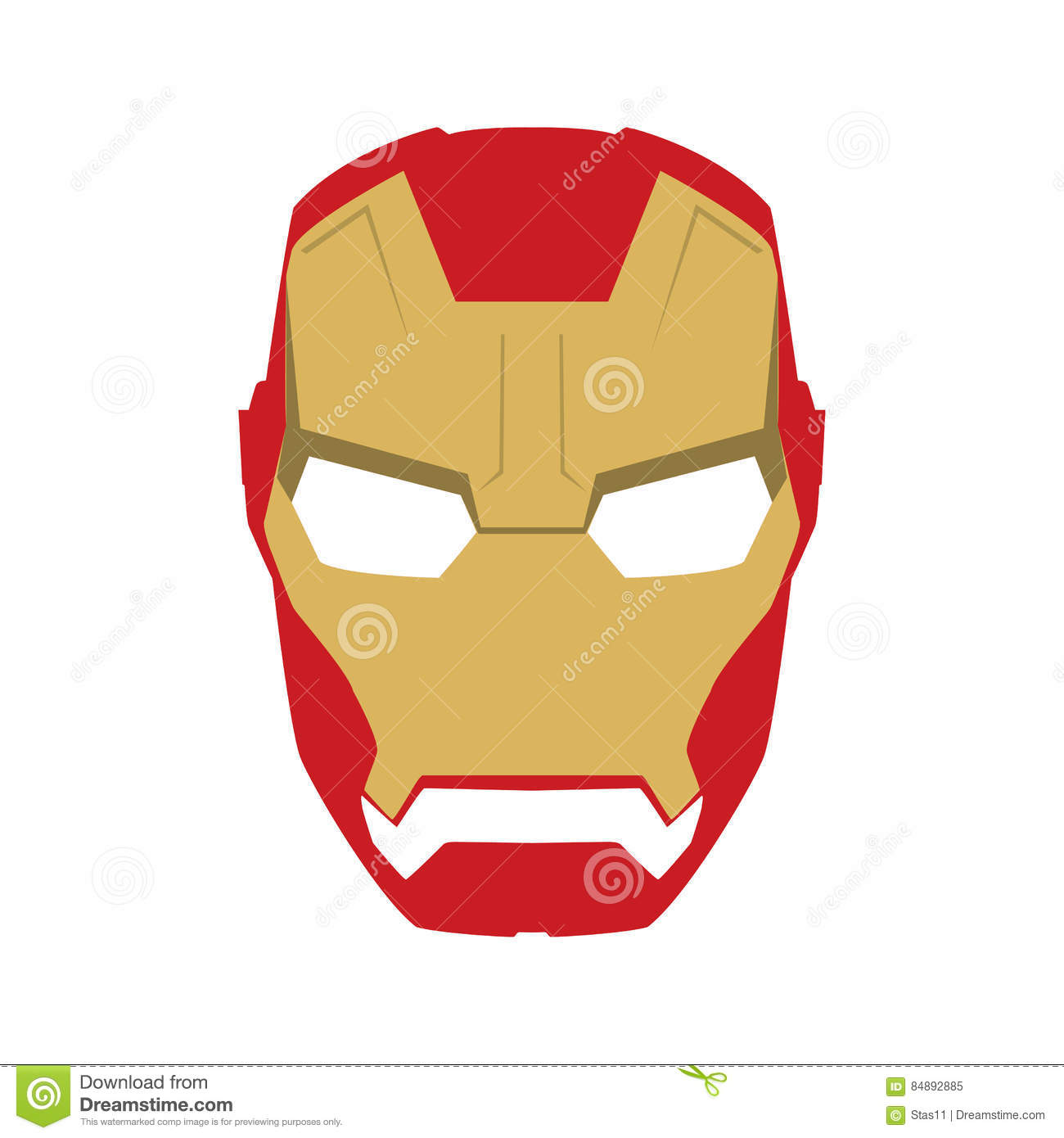 Mask Of Super Hero Face Character In Flat Design Template Golden