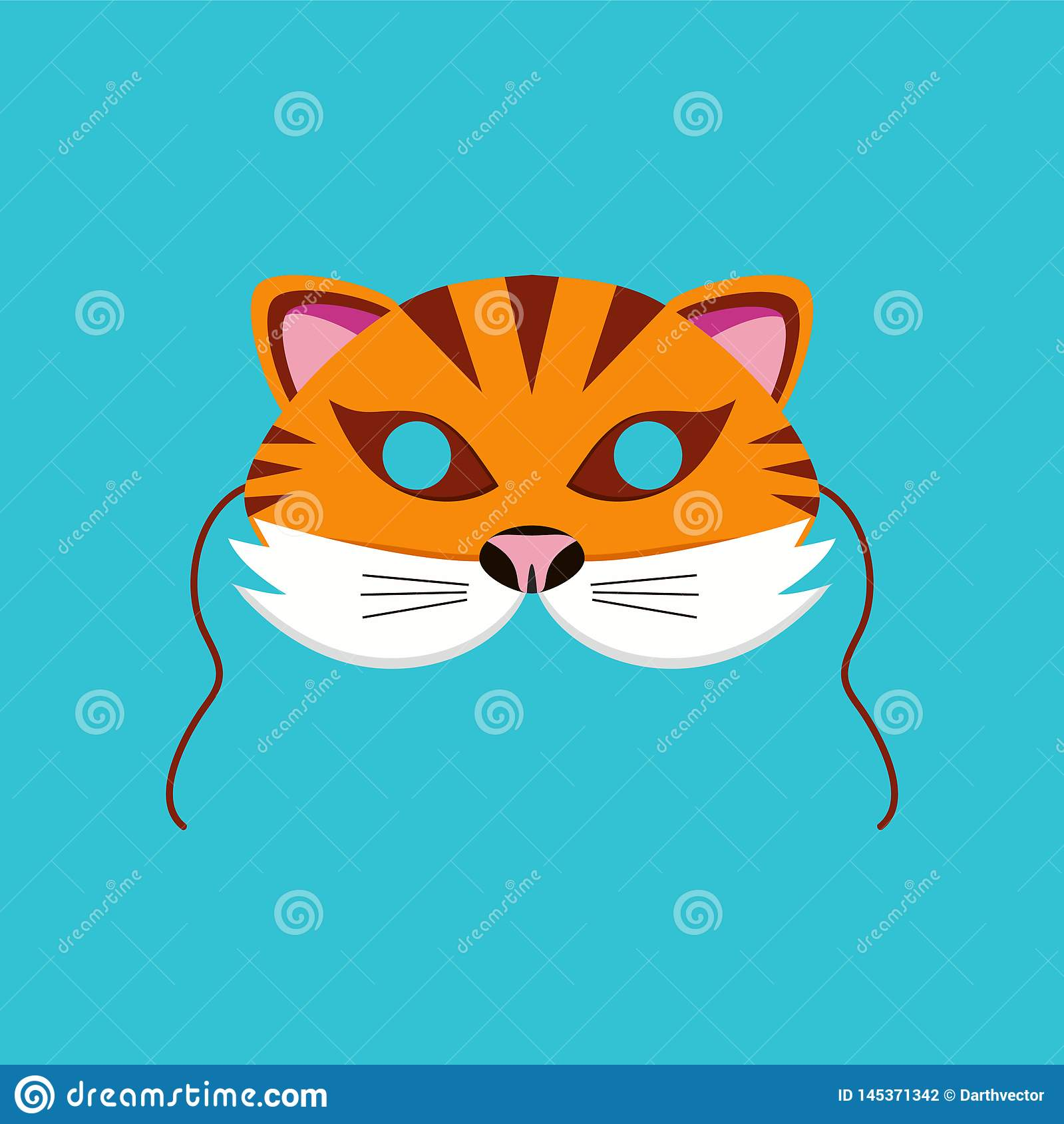 Mask of tiger animal for kids birthday or costume party vector illustrations