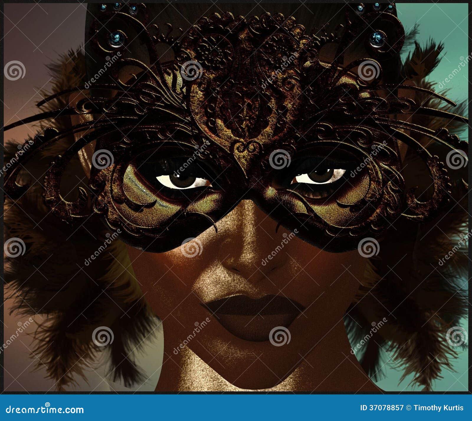 Download Maskaradowa Maska Z Piórkami. Ilustracji - Ilustracja złożonej z retro, fantazja: 37078857