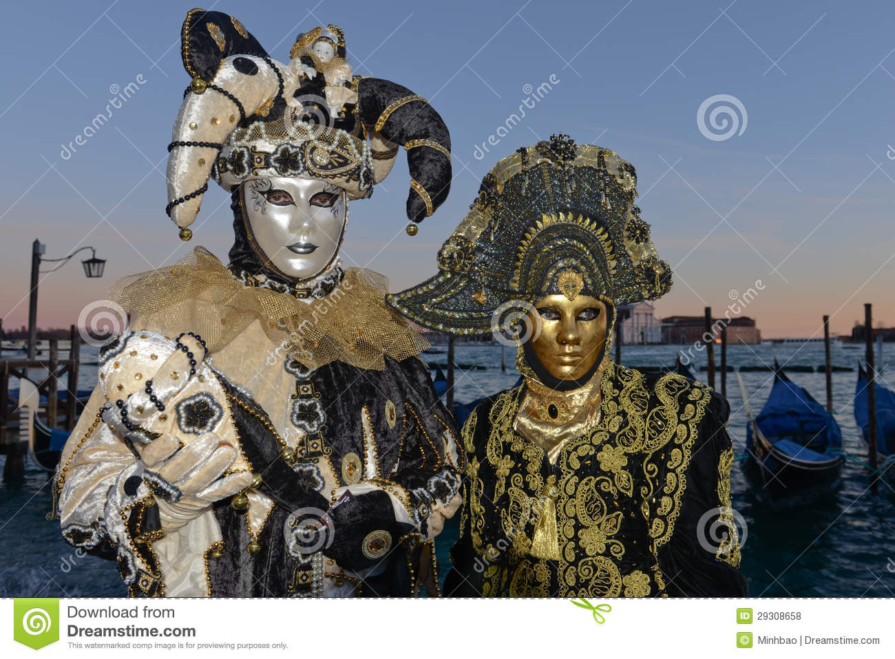 Masked Couple In Black And Gold Carnival Costumes ...