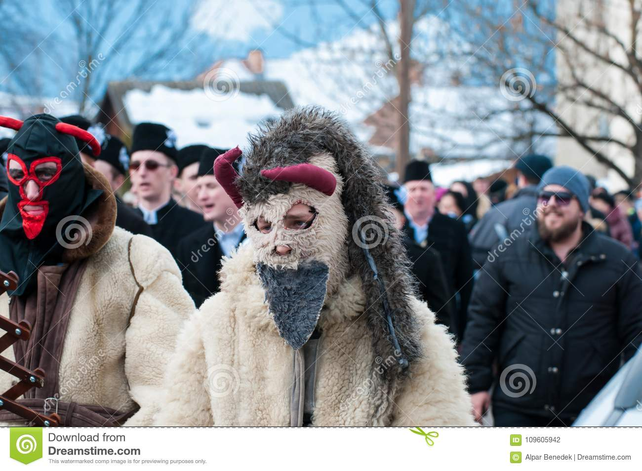 c415f8b84 Masked men portrait on the winter ending Transylvanian traditional carnival