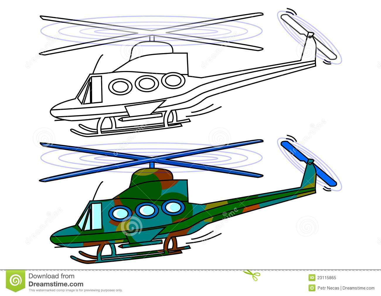 Royalty free stock photo: masked military helicopter - coloring book