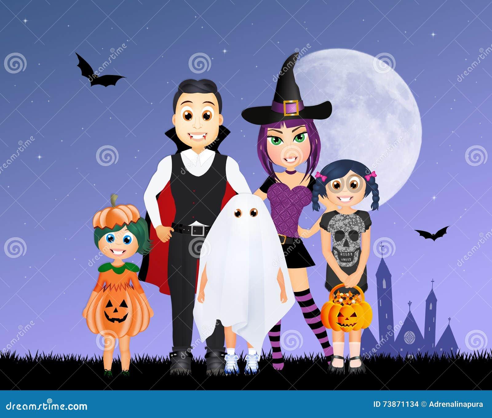 Halloween Maskerad.Maskerad Familj Till Halloween Stock Illustrationer