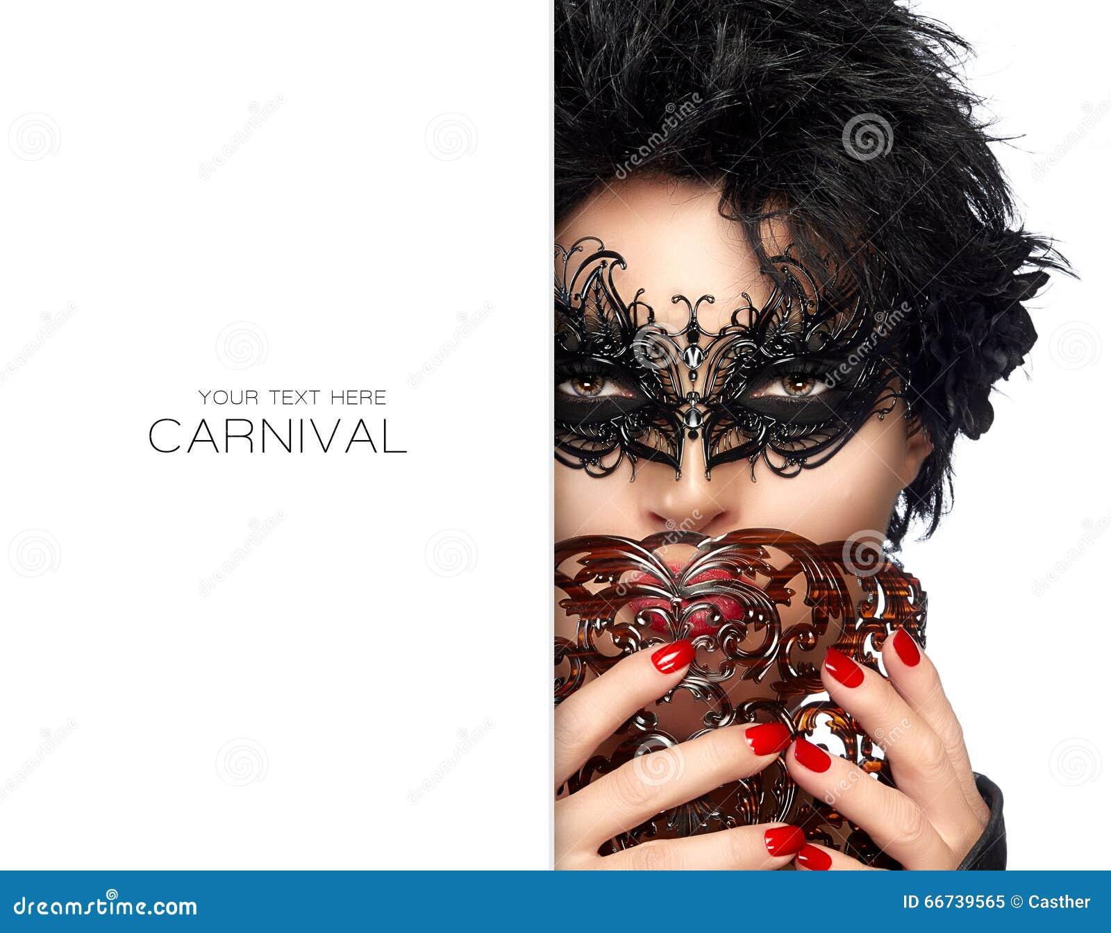 Maskerade Schitterende Korte Haarvrouw met Zwart Masker Carnaval