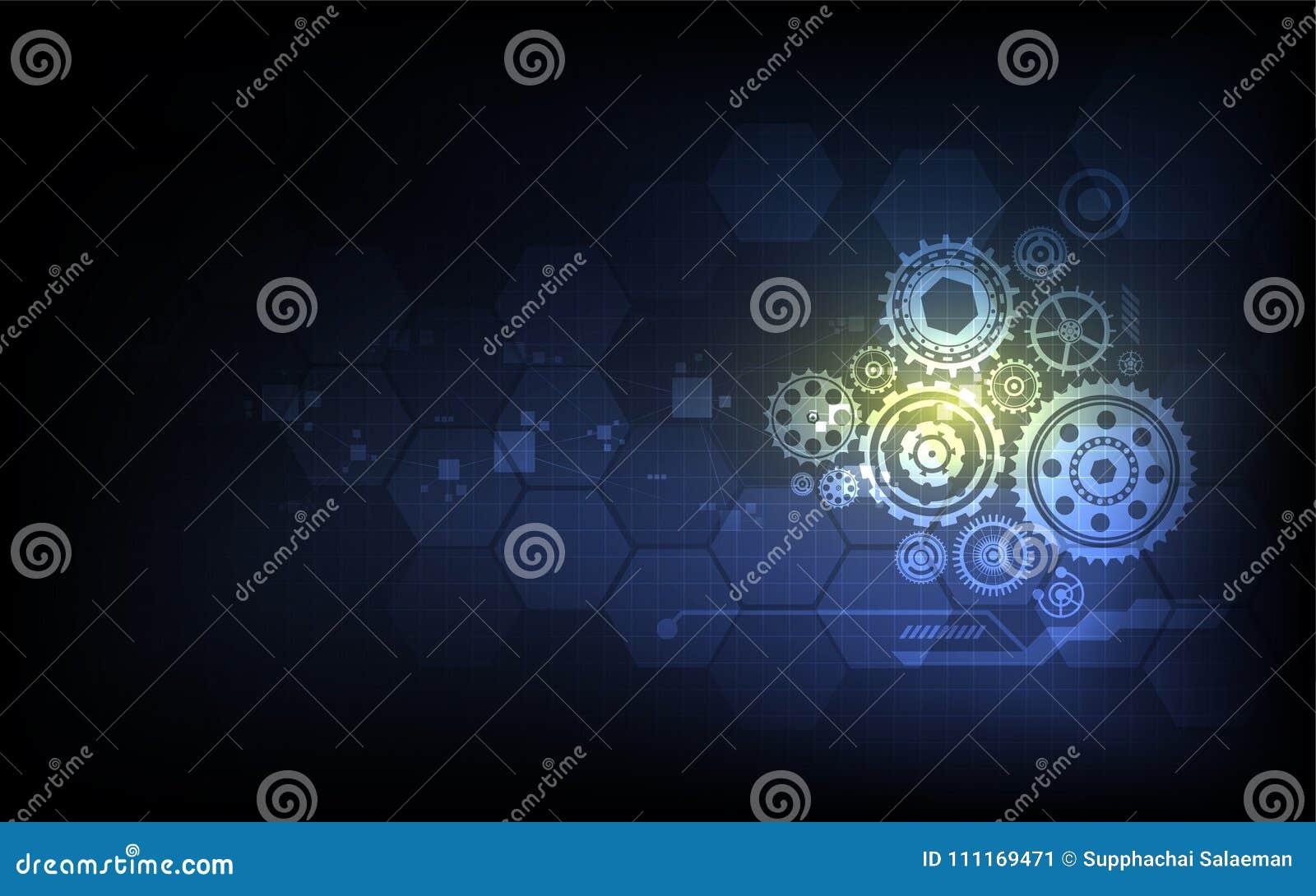 Maskin för digitalt system för Tech som arbetar innovativ begreppsbakgrund