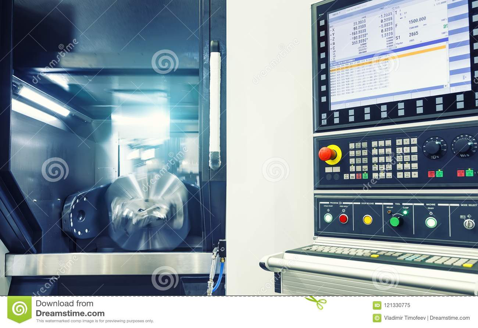 Maskin för MetalworkingCNC-malning Modern bearbeta teknologi för bitande metall Litet djup av sätter in Autentisk varning -