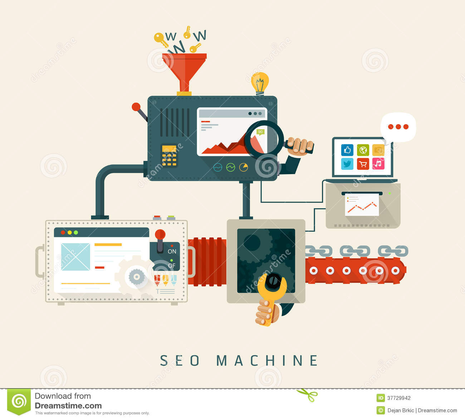 Maskin för Website SEO, process av optimization. Lägenhet