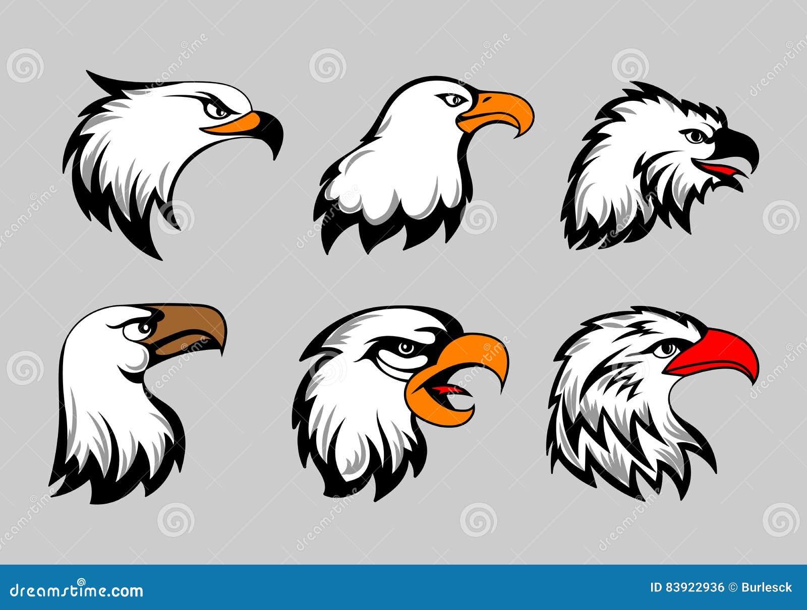 Maskot för den skalliga örnen heads vektorillustrationen Amerikansk örnhuvuduppsättning för logo och etiketter