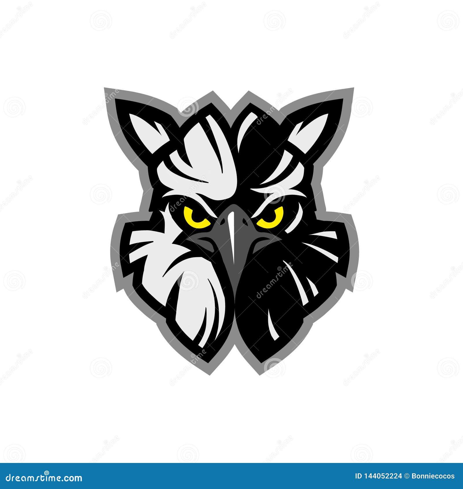 Maskotsymbolsillustration av huvudet av en amerikansk harpyja för Harpia för harpyörn, djur maskot för örnhuvud - logotyp