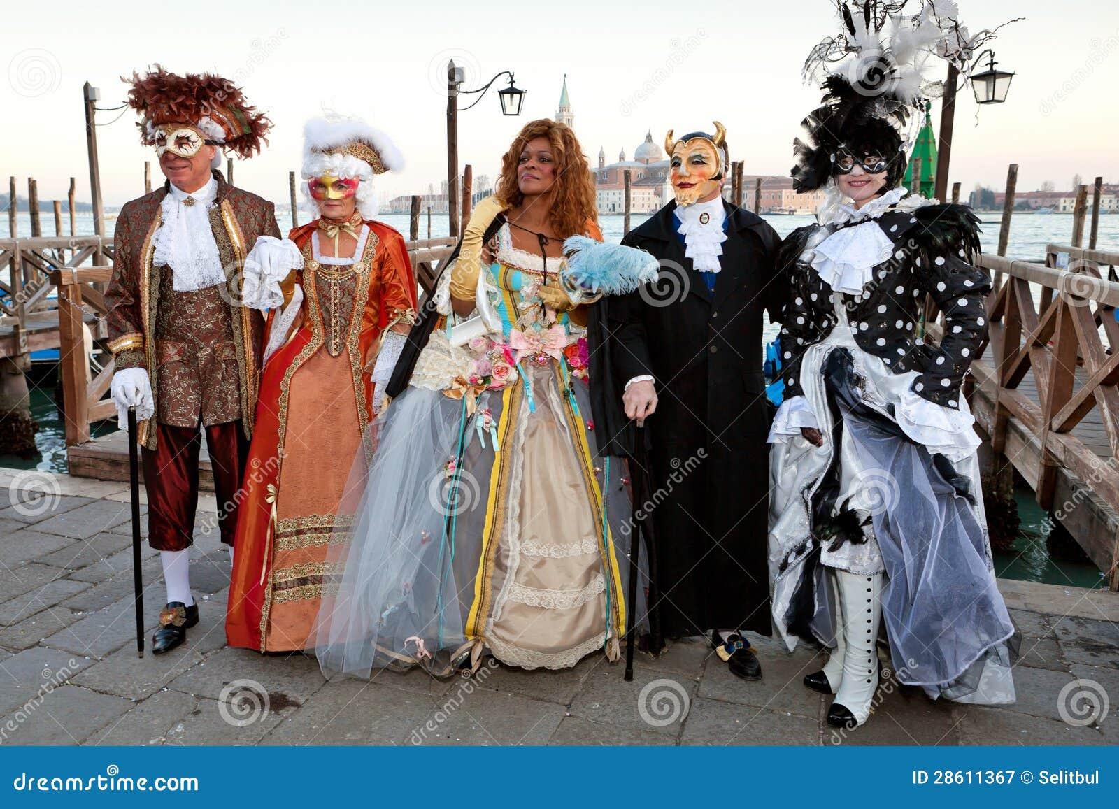 Masks On Venetian Carnival, Venice, Italy Editorial ...