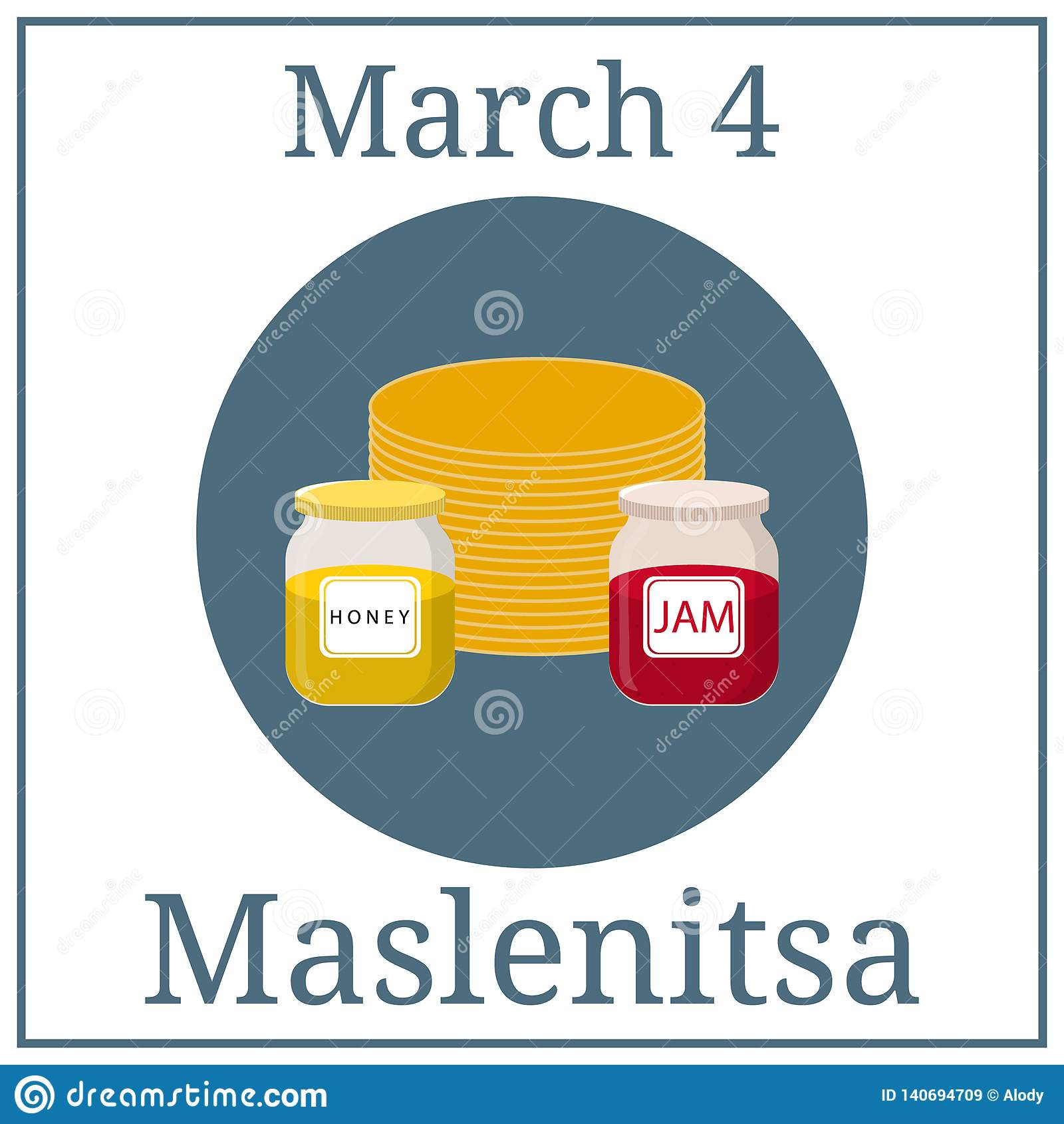 Maslenitsa Poster. March holiday calendar. March 4. Great Ukrainian and Russian Holiday. Pancakes, honey and jam. Vector.