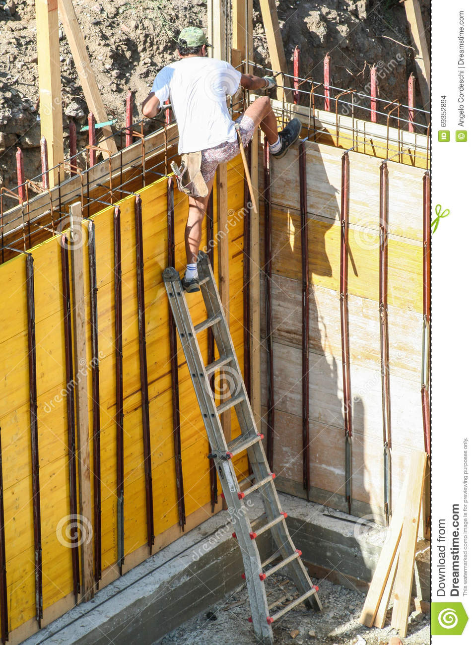 Mason Bricklayer Or Carpenter Worker With Scale  Job