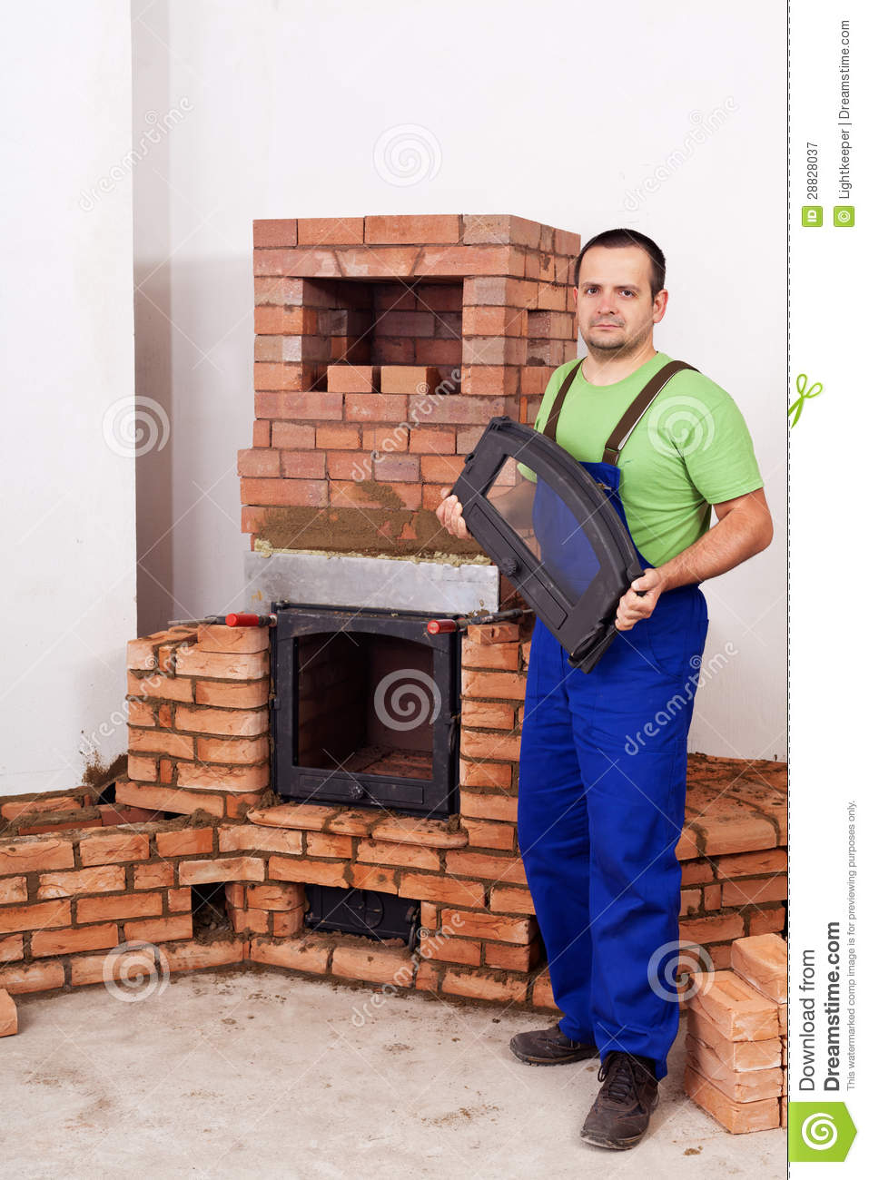 Mason Building Fireplace Royalty Free Stock Photography Image