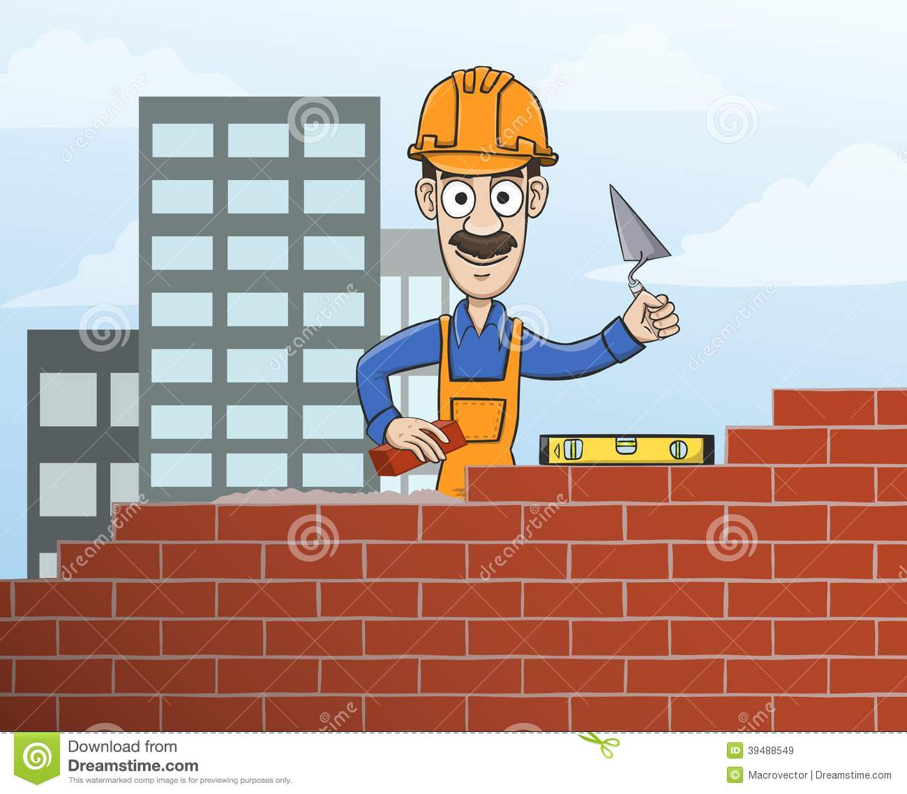 Construction site mason worker in helmet building red brick wall with ...