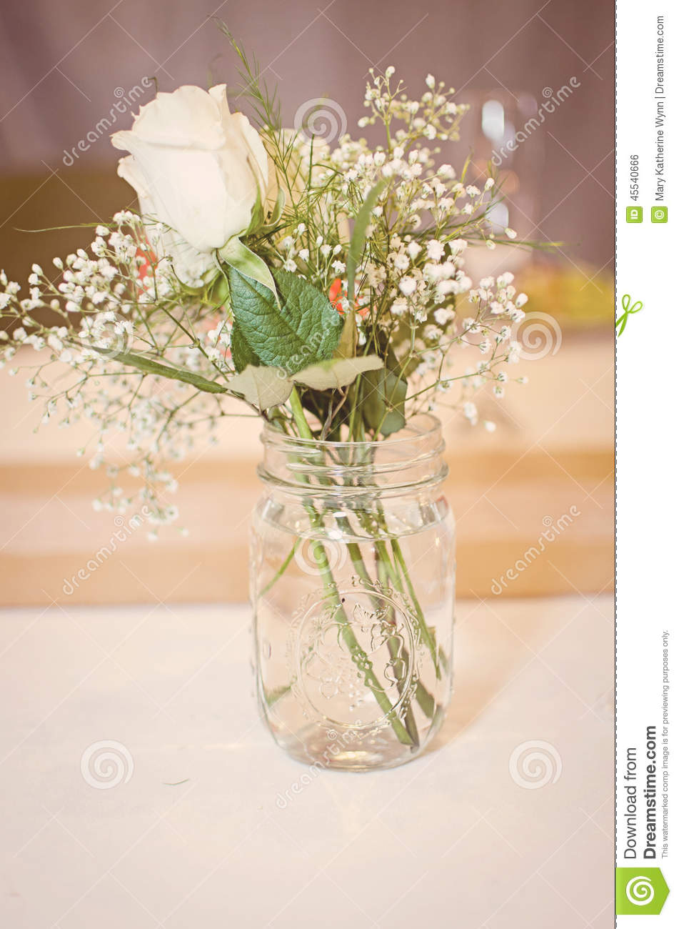 mason jar bouquet stock photo image of cloth arrangement 45540666. Black Bedroom Furniture Sets. Home Design Ideas